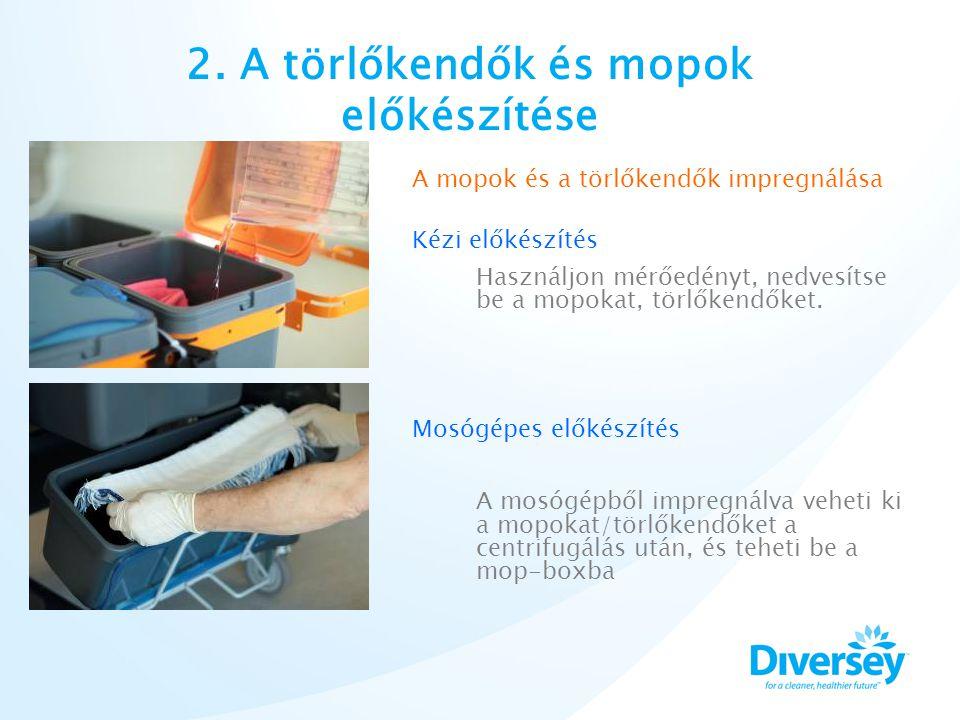2. A törlőkendők és mopok előkészítése A mopok és a törlőkendők impregnálása Kézi előkészítés Használjon mérőedényt, nedvesítse be a mopokat, törlőken