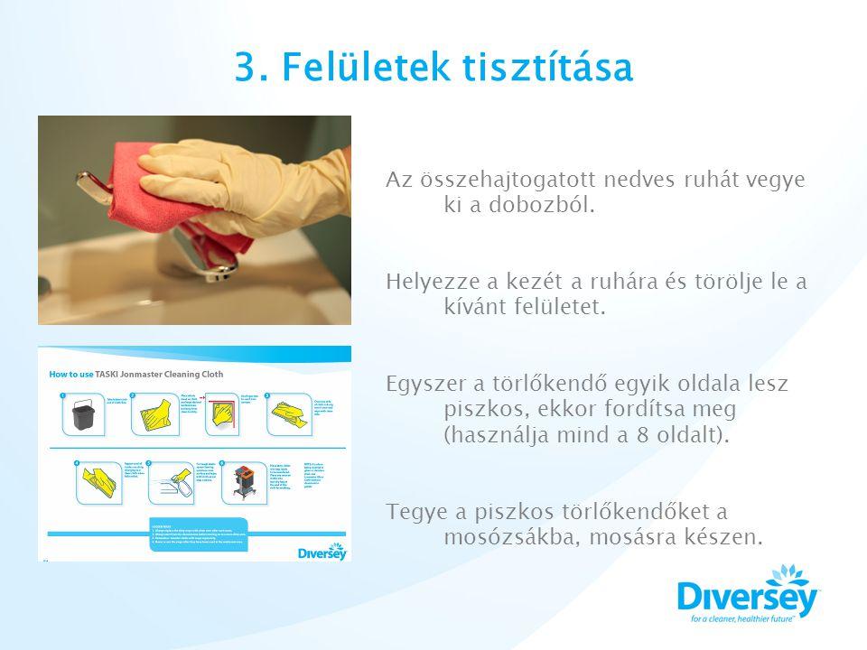 3. Felületek tisztítása Az összehajtogatott nedves ruhát vegye ki a dobozból.