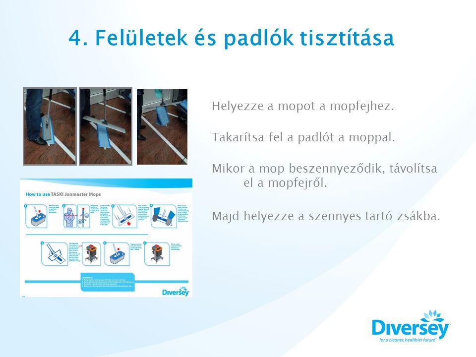 4. Felületek és padlók tisztítása Helyezze a mopot a mopfejhez.