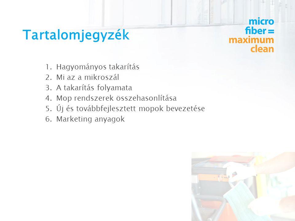 Tartalomjegyzék 1.Hagyományos takarítás 2.Mi az a mikroszál 3.A takarítás folyamata 4.Mop rendszerek összehasonlítása 5.Új és továbbfejlesztett mopok bevezetése 6.Marketing anyagok