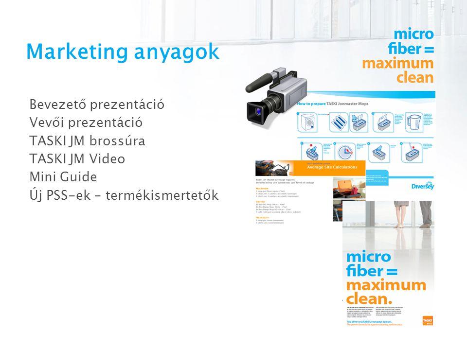 Marketing anyagok Bevezető prezentáció Vevői prezentáció TASKI JM brossúra TASKI JM Video Mini Guide Új PSS-ek - termékismertetők