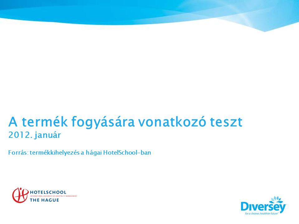 A termék fogyására vonatkozó teszt 2012. január Forrás: termékkihelyezés a hágai HotelSchool-ban