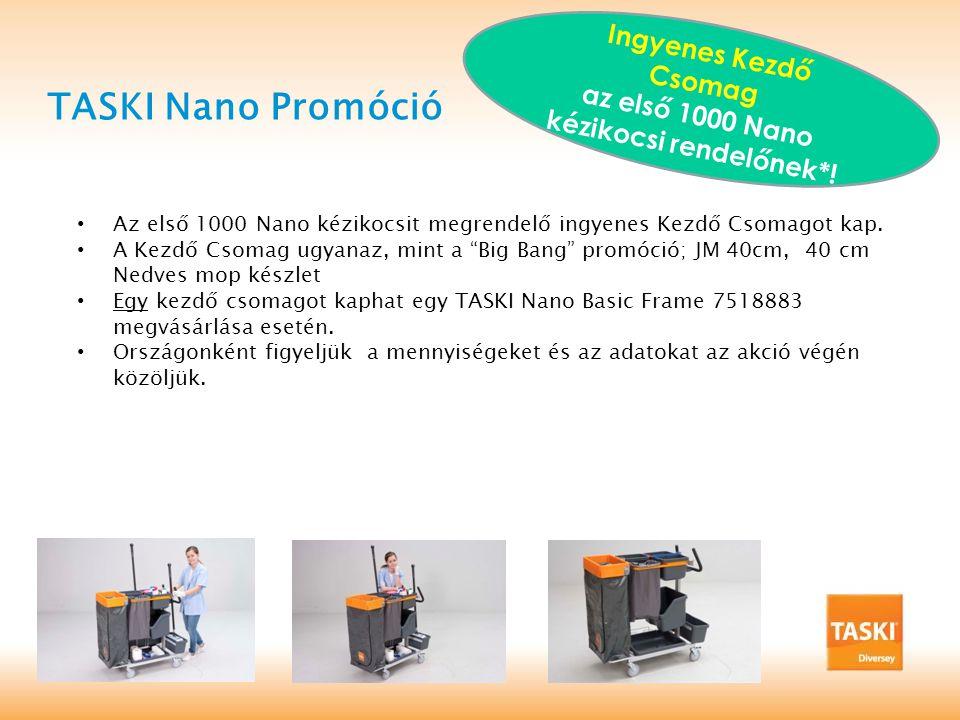 TASKI Nano Promóció Ingyenes Kezdő Csomag az első 1000 Nano kézikocsi rendelőnek*.