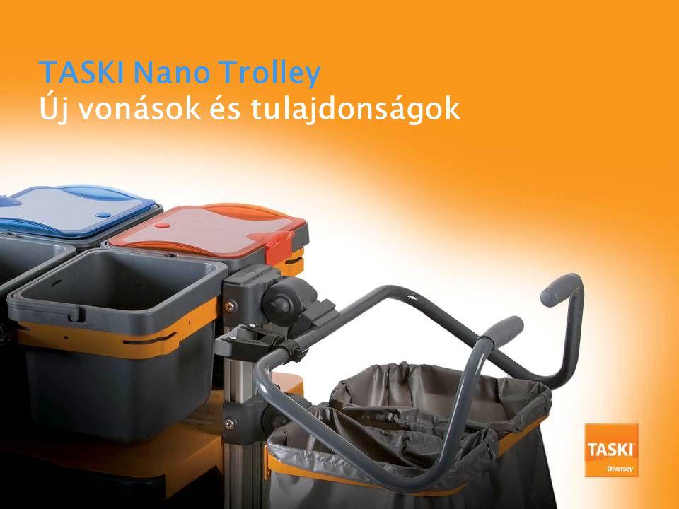 7517886 TASKI Nano Dupla Ruha Box Tartó 1db W1 Segítségével 4 ruha boxot, kisvödröt, mosodai zsákot, szemeteszsákot lehet vinni.