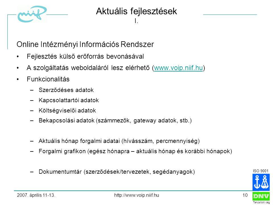 ISO 9001 Tanúsított cég 2007. április 11-13.http://www.voip.niif.hu10 Aktuális fejlesztések I.