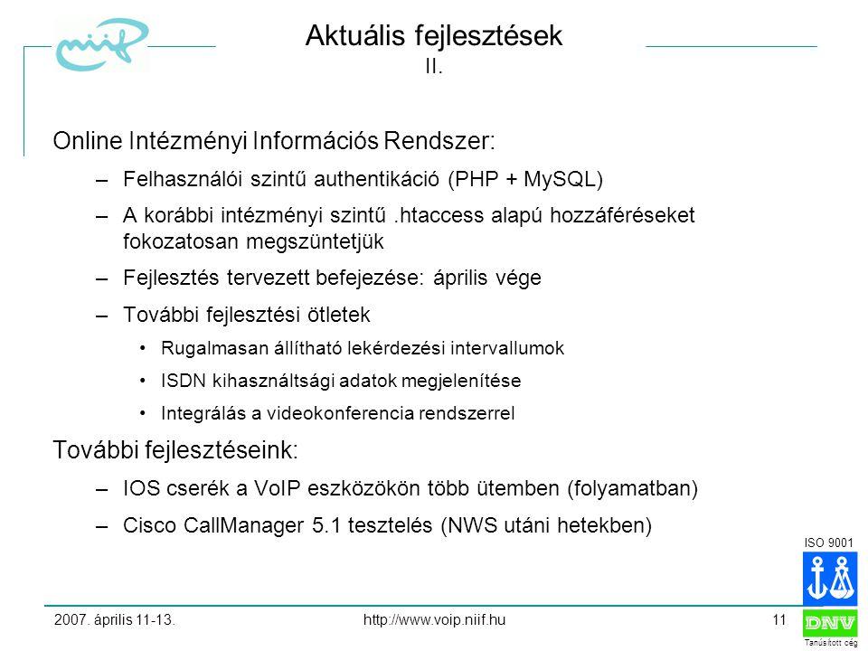 ISO 9001 Tanúsított cég 2007. április 11-13.http://www.voip.niif.hu11 Aktuális fejlesztések II.