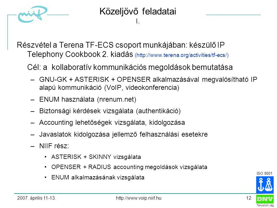 ISO 9001 Tanúsított cég 2007. április 11-13.http://www.voip.niif.hu12 Közeljövő feladatai I.