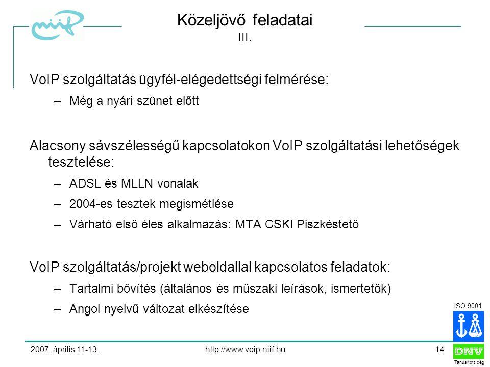 ISO 9001 Tanúsított cég 2007. április 11-13.http://www.voip.niif.hu14 Közeljövő feladatai III.