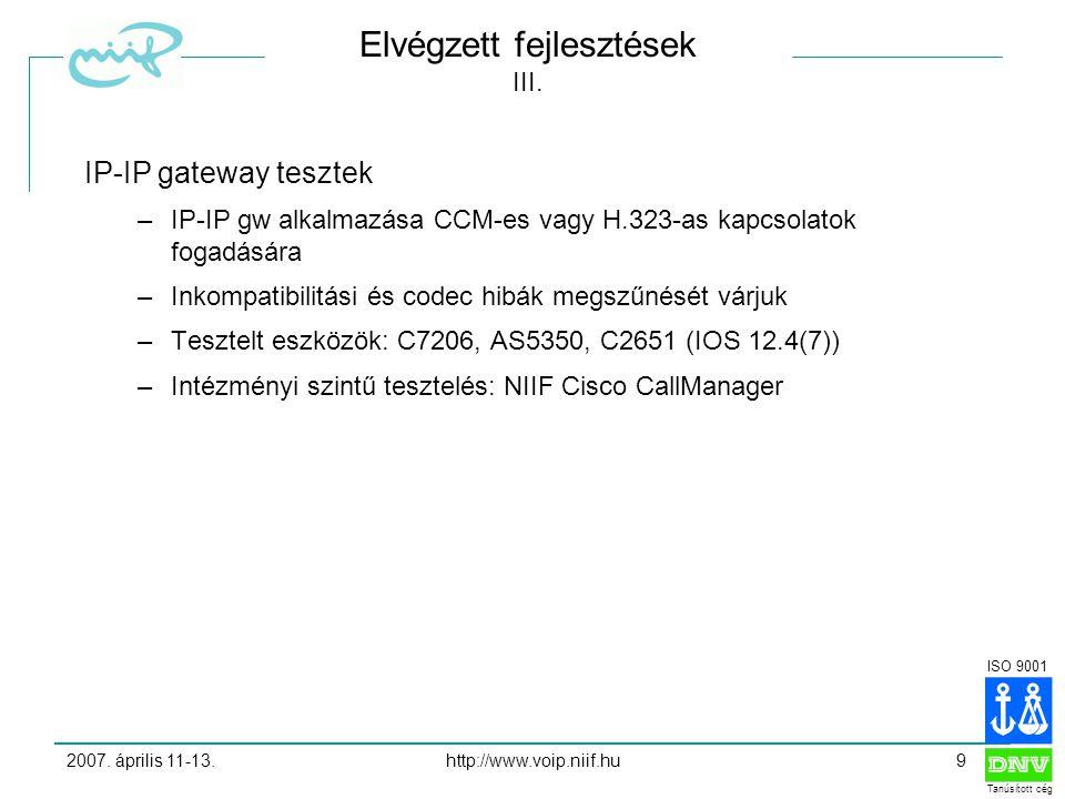 ISO 9001 Tanúsított cég 2007.április 11-13.http://www.voip.niif.hu9 Elvégzett fejlesztések III.