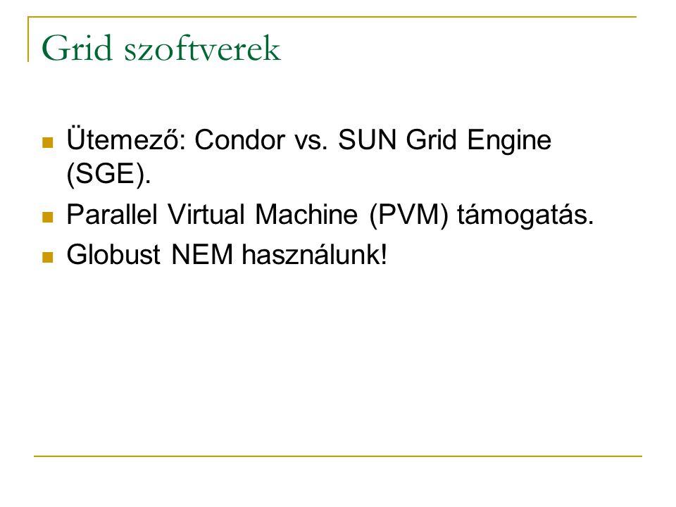 Grid szoftverek Ütemező: Condor vs. SUN Grid Engine (SGE). Parallel Virtual Machine (PVM) támogatás. Globust NEM használunk!