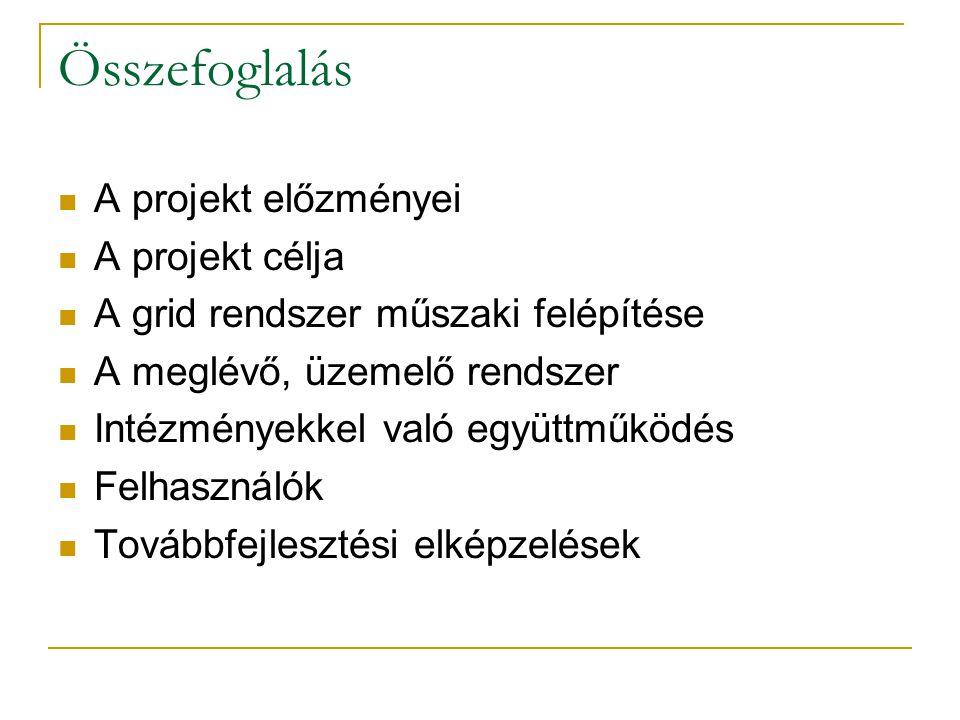 Összefoglalás A projekt előzményei A projekt célja A grid rendszer műszaki felépítése A meglévő, üzemelő rendszer Intézményekkel való együttműködés Felhasználók Továbbfejlesztési elképzelések