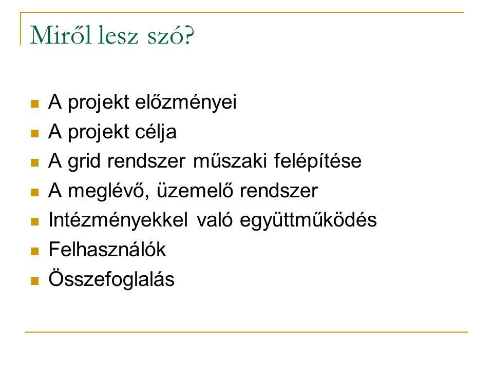 Miről lesz szó? A projekt előzményei A projekt célja A grid rendszer műszaki felépítése A meglévő, üzemelő rendszer Intézményekkel való együttműködés