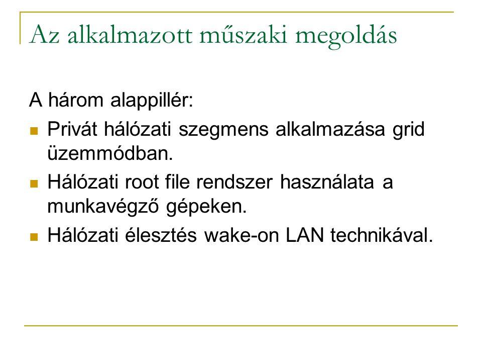 Az alkalmazott műszaki megoldás A három alappillér: Privát hálózati szegmens alkalmazása grid üzemmódban. Hálózati root file rendszer használata a mun