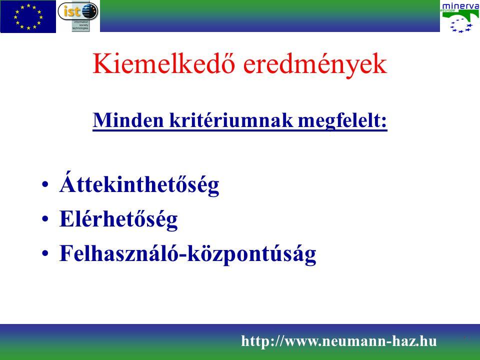 Kiemelkedő eredmények Minden kritériumnak megfelelt: Áttekinthetőség Elérhetőség Felhasználó-központúság http://www.neumann-haz.hu