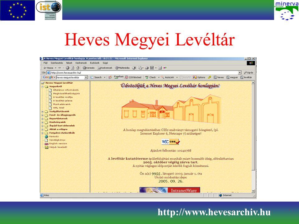 Heves Megyei Levéltár http://www.hevesarchiv.hu