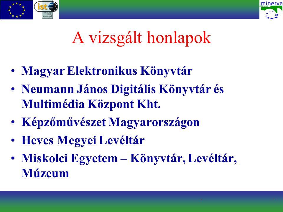 A vizsgált honlapok Magyar Elektronikus Könyvtár Neumann János Digitális Könyvtár és Multimédia Központ Kht. Képzőművészet Magyarországon Heves Megyei