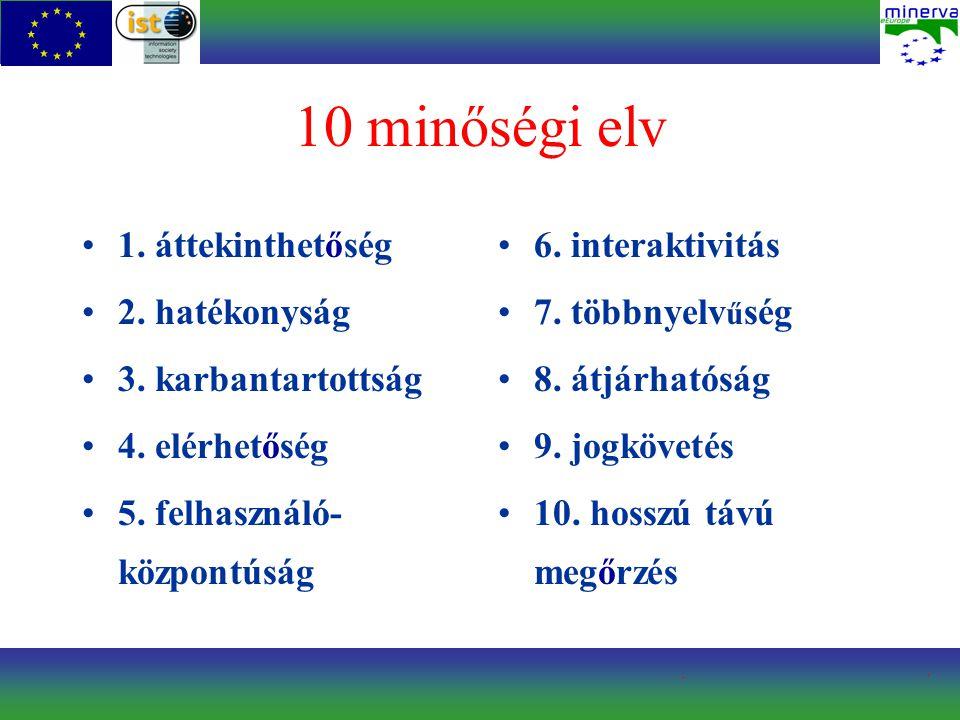10 minőségi elv 1. áttekinthetőség 2. hatékonyság 3. karbantartottság 4. elérhetőség 5. felhasználó- központúság 6. interaktivitás 7. többnyelv ű ség