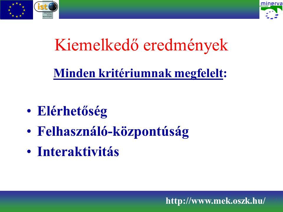 Kiemelkedő eredmények Minden kritériumnak megfelelt: Elérhetőség Felhasználó-központúság Interaktivitás http://www.mek.oszk.hu/