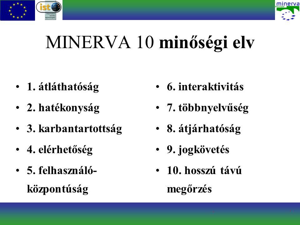 MINERVA 10 minőségi elv 1. átláthatóság 2. hatékonyság 3.