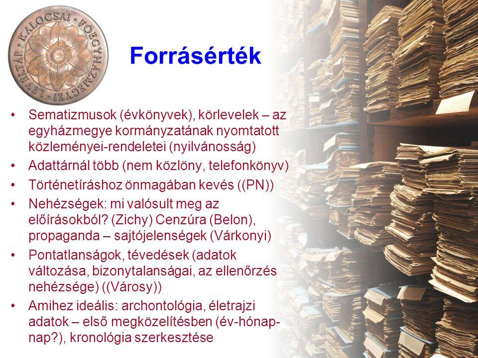 Forrásérték Sematizmusok (évkönyvek), körlevelek – az egyházmegye kormányzatának nyomtatott közleményei-rendeletei (nyilvánosság) Adattárnál több (nem