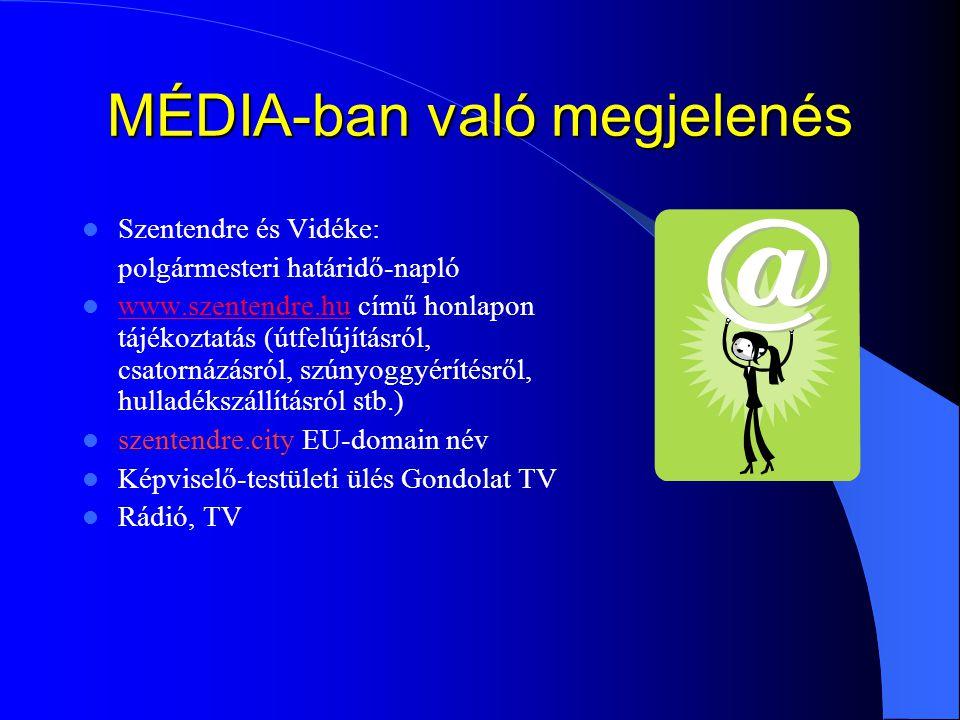 MÉDIA-ban való megjelenés Szentendre és Vidéke: polgármesteri határidő-napló www.szentendre.hu című honlapon tájékoztatás (útfelújításról, csatornázás