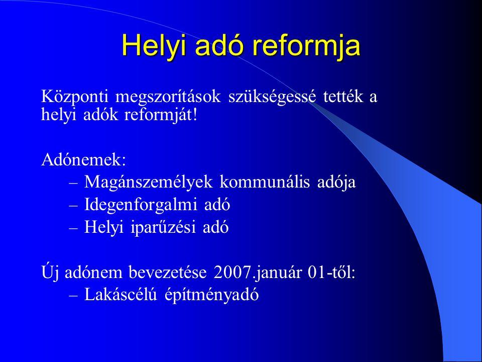 Helyi adó reformja Központi megszorítások szükségessé tették a helyi adók reformját! Adónemek: – Magánszemélyek kommunális adója – Idegenforgalmi adó