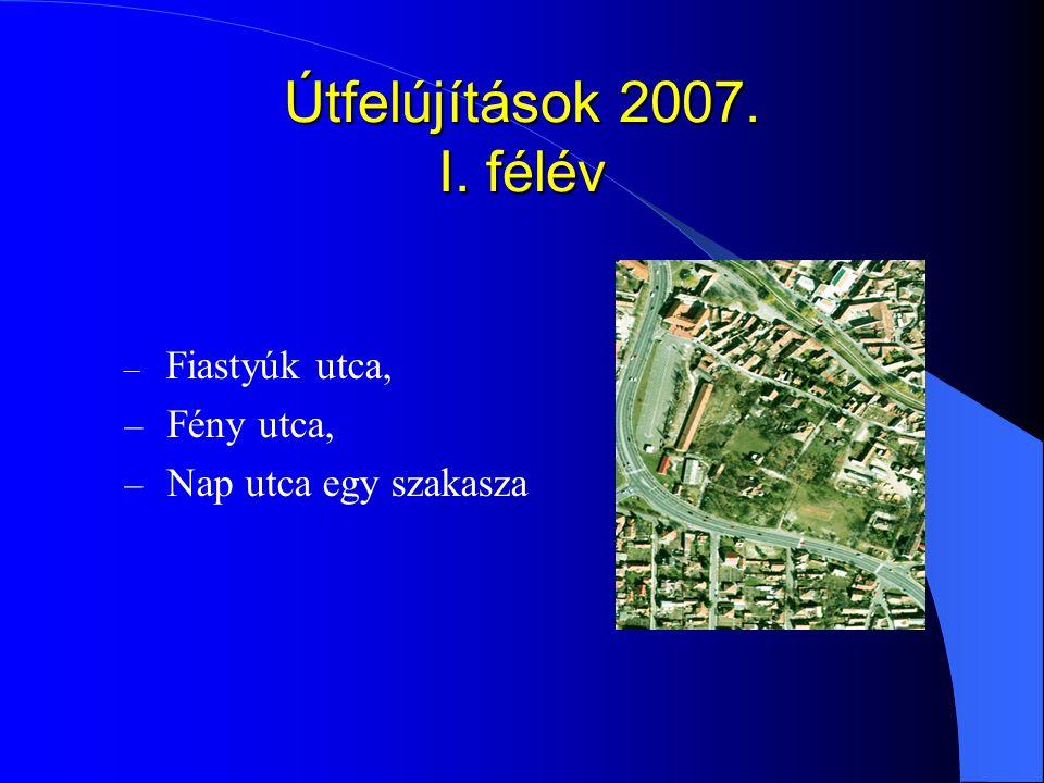 Útfelújítások 2007. I. félév – Fiastyúk utca, – Fény utca, – Nap utca egy szakasza