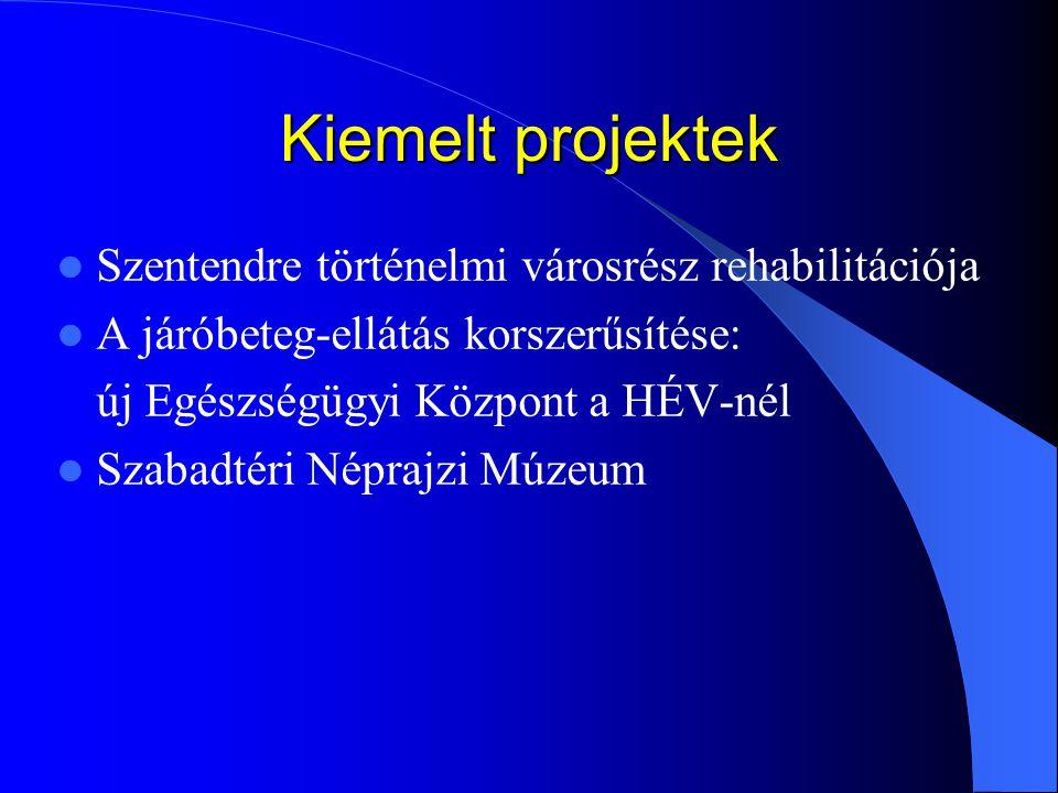 Kiemelt projektek Szentendre történelmi városrész rehabilitációja A járóbeteg-ellátás korszerűsítése: új Egészségügyi Központ a HÉV-nél Szabadtéri Nép