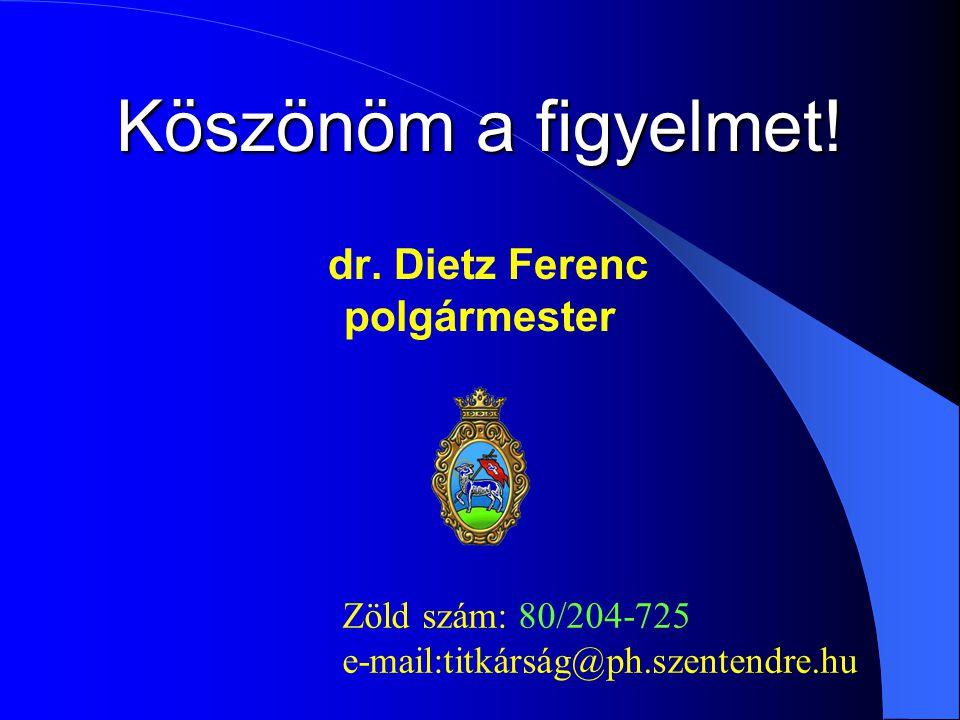 Köszönöm a figyelmet! dr. Dietz Ferenc polgármester Zöld szám: 80/204-725 e-mail:titkárság@ph.szentendre.hu