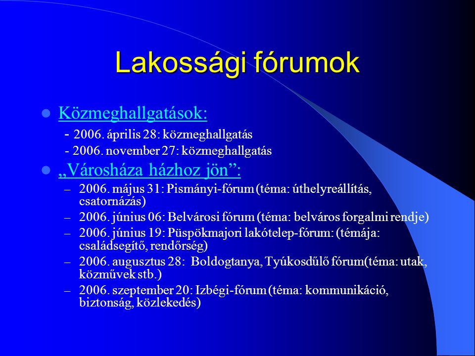 """Lakossági fórumok Közmeghallgatások: - 2006. április 28: közmeghallgatás - 2006. november 27: közmeghallgatás """"Városháza házhoz jön"""": – 2006. május 31"""