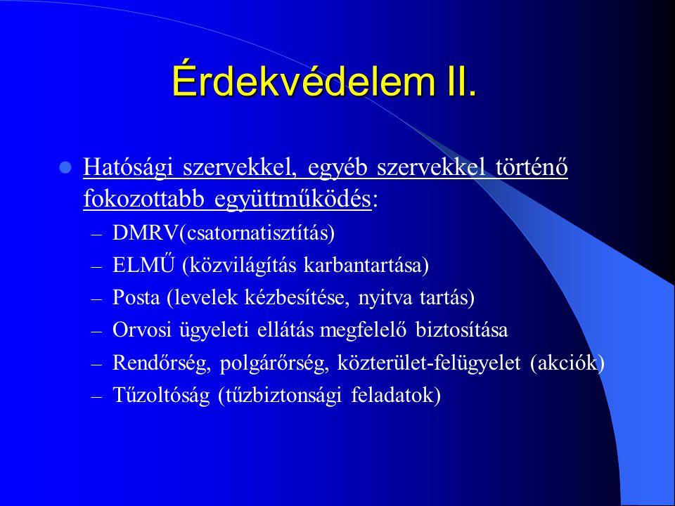 Érdekvédelem II. Hatósági szervekkel, egyéb szervekkel történő fokozottabb együttműködés: – DMRV(csatornatisztítás) – ELMŰ (közvilágítás karbantartása