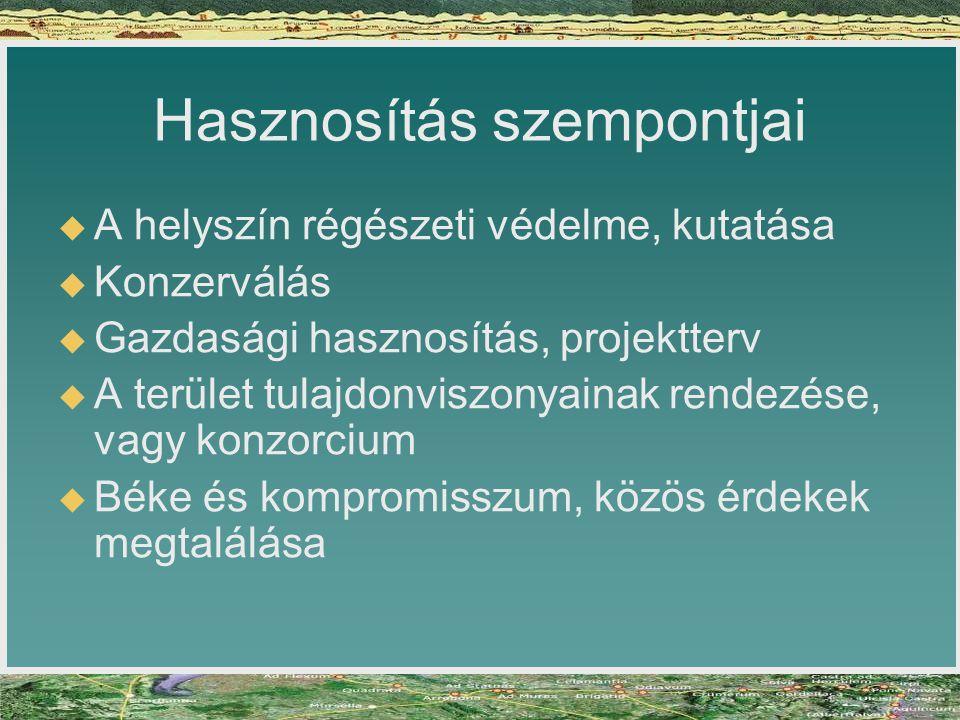 Hasznosítás szempontjai   A helyszín régészeti védelme, kutatása   Konzerválás   Gazdasági hasznosítás, projektterv   A terület tulajdonviszon