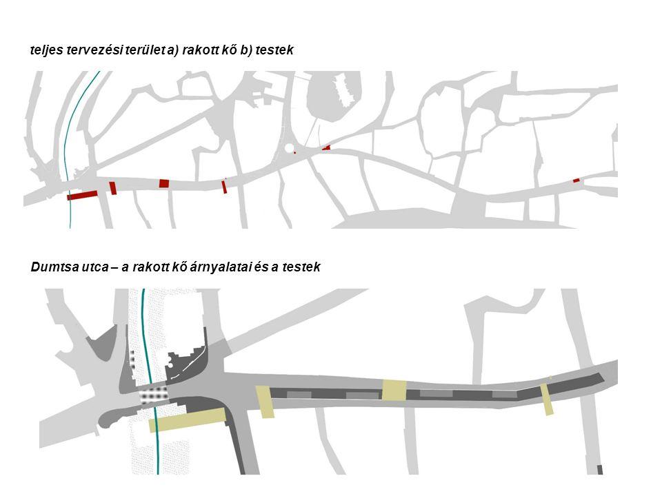 teljes tervezési terület a) rakott kő b) testek Dumtsa utca – a rakott kő árnyalatai és a testek