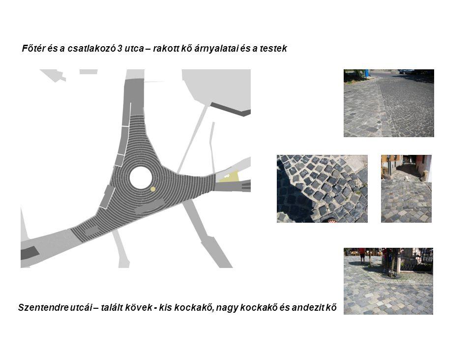Főtér és a csatlakozó 3 utca – rakott kő árnyalatai és a testek Szentendre utcái – talált kövek - kis kockakő, nagy kockakő és andezit kő