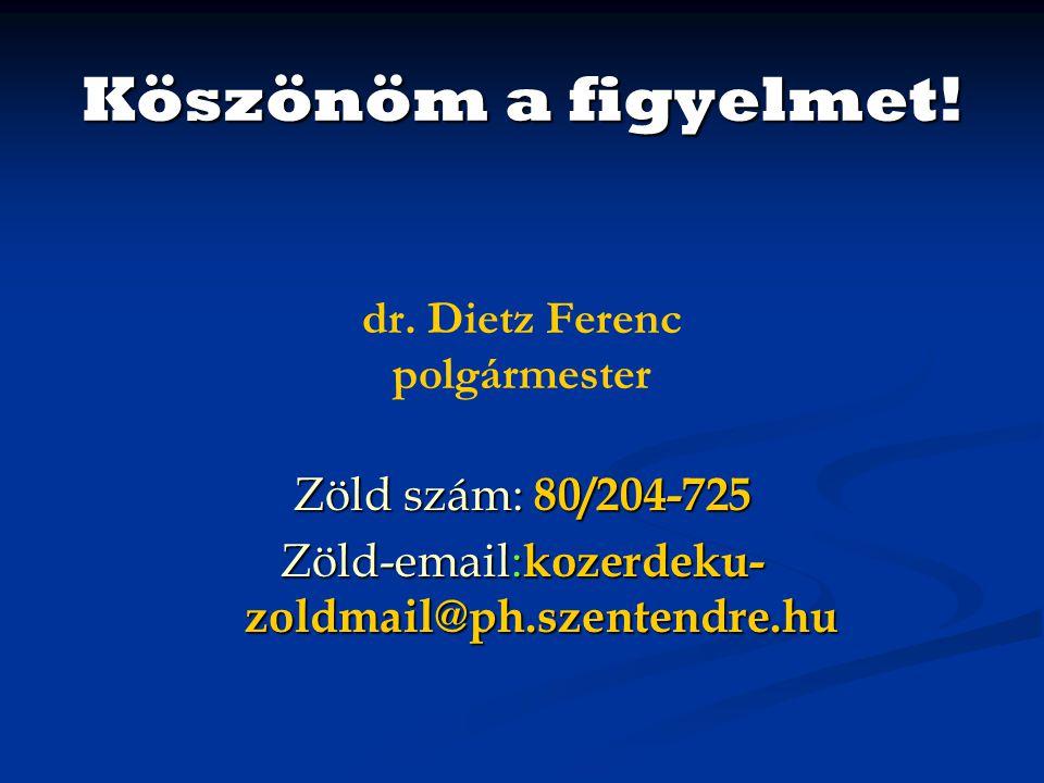 Köszönöm a figyelmet! dr. Dietz Ferenc polgármester Zöld szám: 80/204-725 Zöld-email: kozerdeku- zoldmail@ph.szentendre.hu
