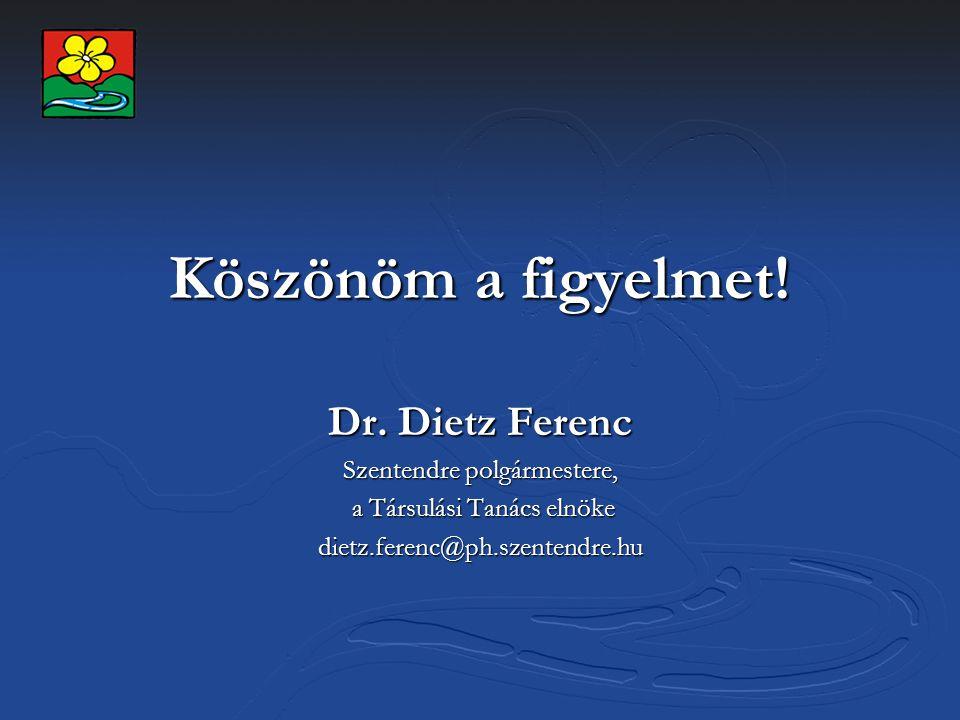 Köszönöm a figyelmet! Dr. Dietz Ferenc Szentendre polgármestere, a Társulási Tanács elnöke a Társulási Tanács elnökedietz.ferenc@ph.szentendre.hu
