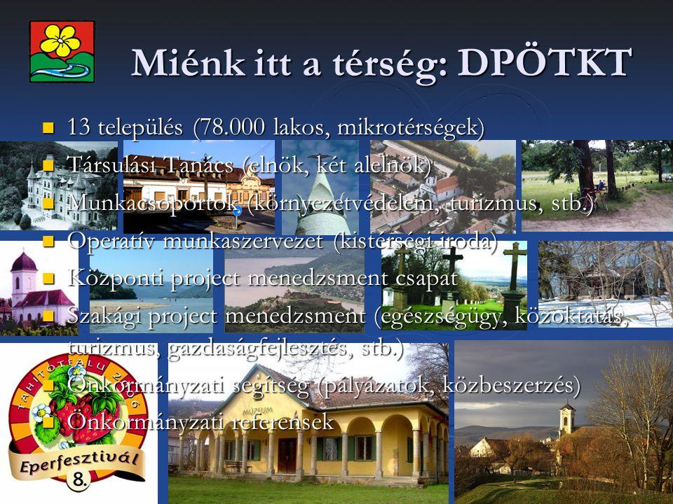 Miénk itt a térség: DPÖTKT 13 település (78.000 lakos, mikrotérségek) 13 település (78.000 lakos, mikrotérségek) Társulási Tanács (elnök, két alelnök)