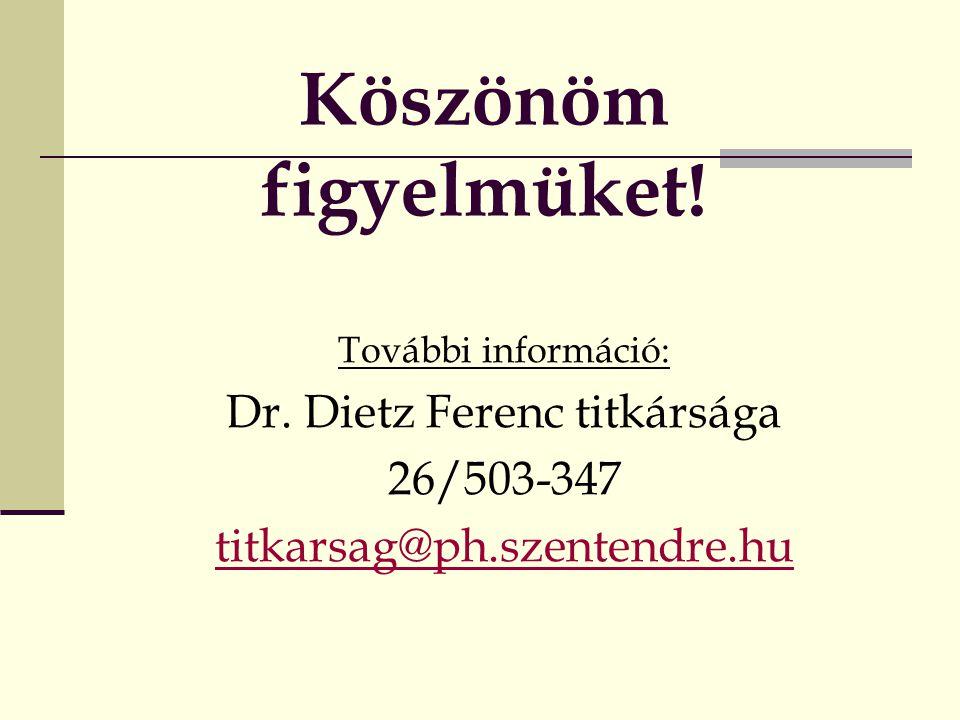 Köszönöm figyelmüket! További információ: Dr. Dietz Ferenc titkársága 26/503-347 titkarsag@ph.szentendre.hu