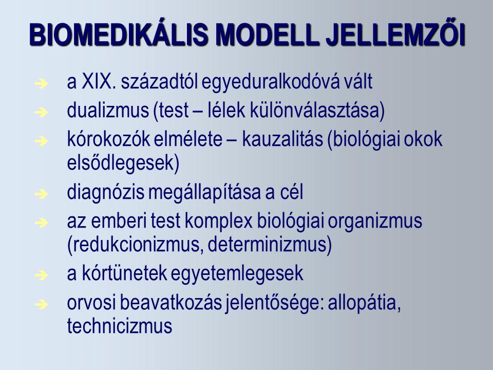 BIOMEDIKÁLIS MODELL JELLEMZŐI  a XIX. századtól egyeduralkodóvá vált  dualizmus (test – lélek különválasztása)  kórokozók elmélete – kauzalitás (bi