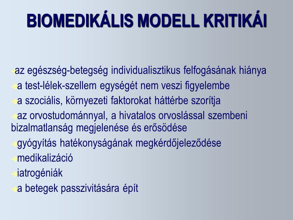 BIOMEDIKÁLIS MODELL KRITIKÁI  az egészség-betegség individualisztikus felfogásának hiánya  a test-lélek-szellem egységét nem veszi figyelembe  a sz