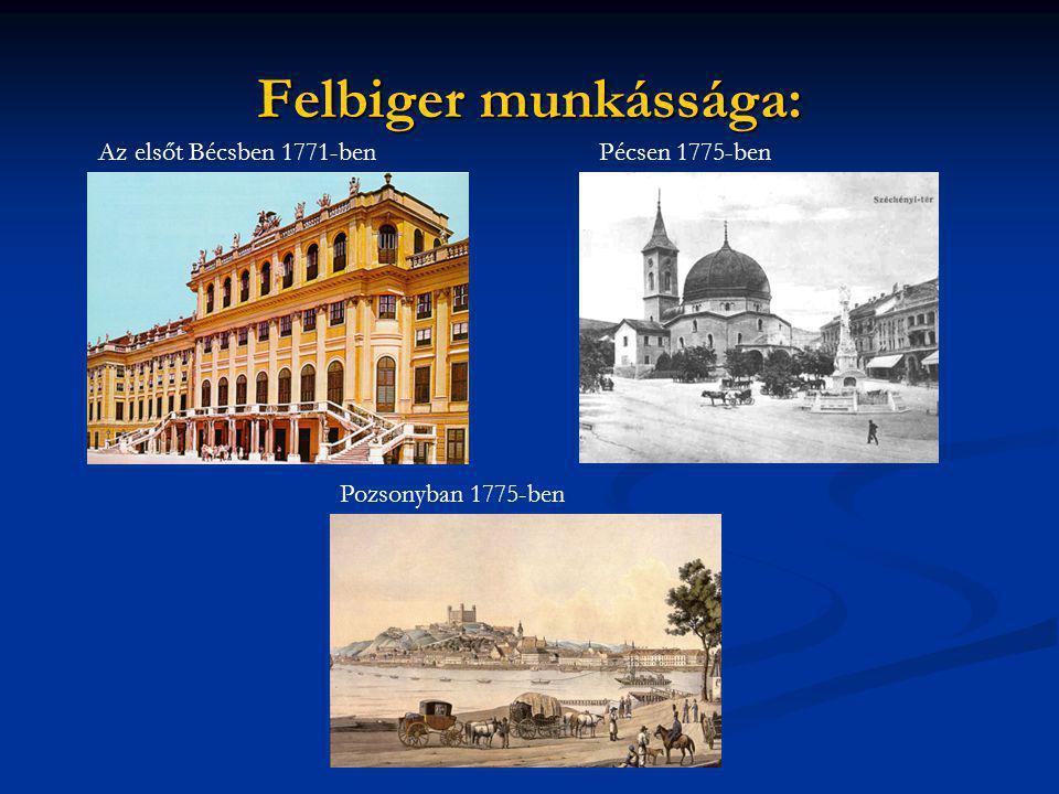 Felbiger munkássága: Az elsőt Bécsben 1771-benPécsen 1775-ben Pozsonyban 1775-ben
