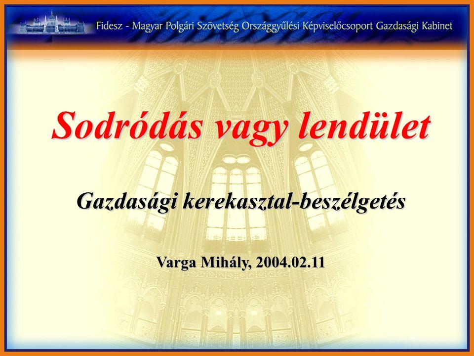 Sodródás vagy lendület Gazdasági kerekasztal-beszélgetés Varga Mihály, 2004.02.11