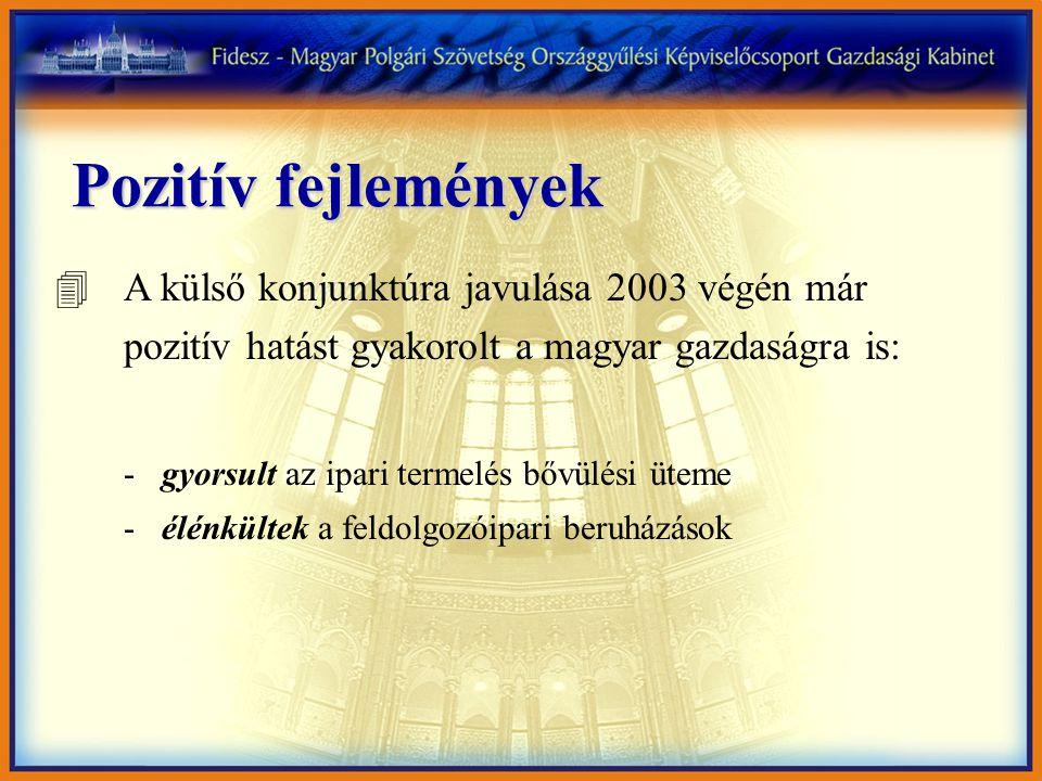 Pozitív fejlemények 4A külső konjunktúra javulása 2003 végén már pozitív hatást gyakorolt a magyar gazdaságra is: - gyorsult az ipari termelés bővülési üteme - élénkültek a feldolgozóipari beruházások