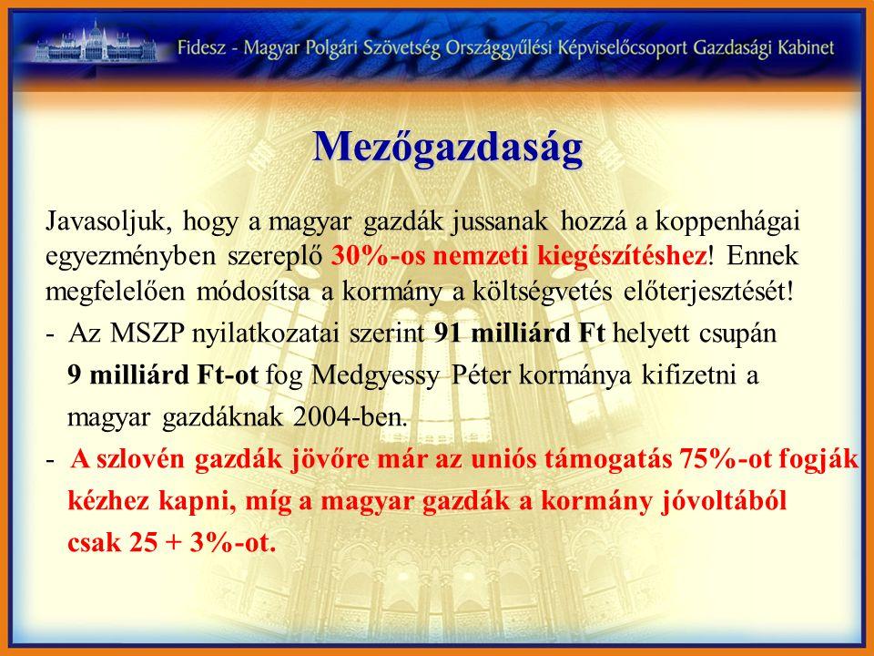 Mezőgazdaság Javasoljuk, hogy a magyar gazdák jussanak hozzá a koppenhágai egyezményben szereplő 30%-os nemzeti kiegészítéshez.