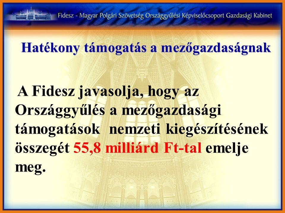 Hatékony támogatás a mezőgazdaságnak A Fidesz javasolja, hogy az Országgyűlés a mezőgazdasági támogatások nemzeti kiegészítésének összegét 55,8 milliárd Ft-tal emelje meg.