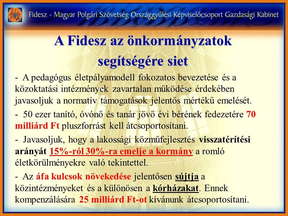 A Fidesz az önkormányzatok segítségére siet - A pedagógus életpályamodell fokozatos bevezetése és a közoktatási intézmények zavartalan működése érdekében javasoljuk a normatív támogatások jelentős mértékű emelését.