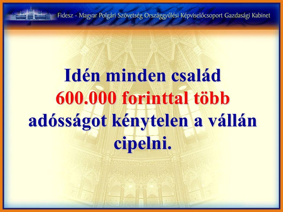 Idén minden család 600.000 forinttal több adósságot kénytelen a vállán cipelni.