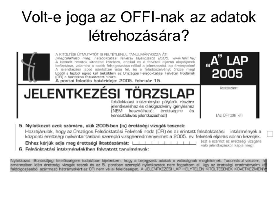 Volt-e joga az OFFI-nak az adatok létrehozására
