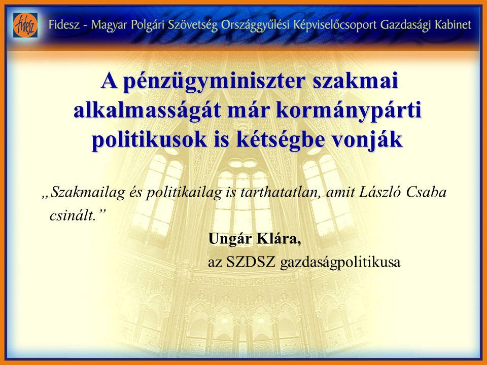 """A pénzügyminiszter szakmai alkalmasságát már kormánypárti politikusok is kétségbe vonják A pénzügyminiszter szakmai alkalmasságát már kormánypárti politikusok is kétségbe vonják """"Szakmailag és politikailag is tarthatatlan, amit László Csaba csinált. Ungár Klára, az SZDSZ gazdaságpolitikusa"""