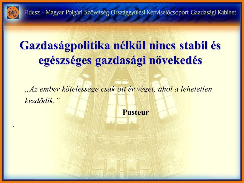 """Gazdaságpolitika nélkül nincs stabil és egészséges gazdasági növekedés """"Az ember kötelessége csak ott ér véget, ahol a lehetetlen kezdődik. Pasteur."""